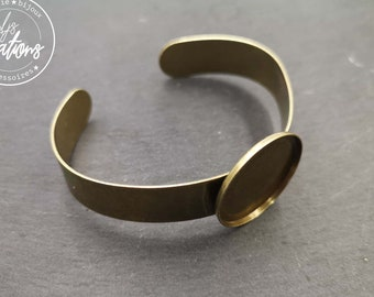 Made in France - 13mm ribbon bracelet and bowl of '25x2mm ' - Brass finish brass