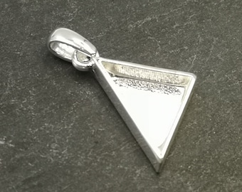 Triangle pendant holder with 16x16x19mm beaker - 925 silver finish tin - made in France