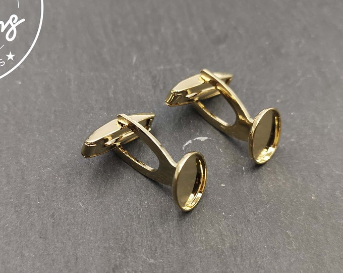 Cufflinks with 8x10mm oval bowl - gilded