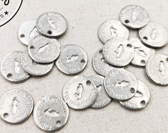 """Tin Medal - Round - 10mm """"Made in Martinique"""" made in France"""