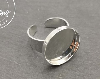 Round ring support - 18x3mm brass silver finish 925 - Made in France