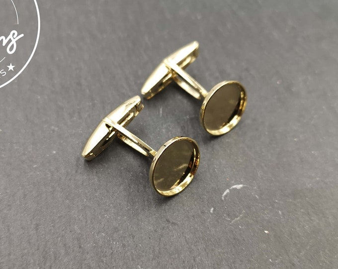 Cufflinks with round bowl of 12mm - gilded