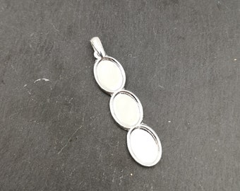 Oval 12x42mm multi-bowl pendant with 3 bowls 10x13mm silver finish 925