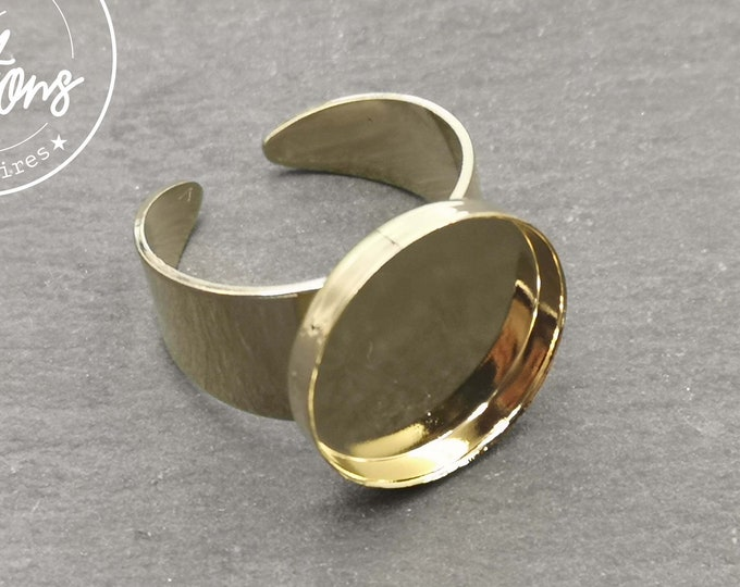Round ring support - L-size L (Size 60) - gold finish brass - Made in France