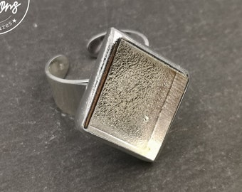 Diamond ring 21x26x4mm - Brass/white tin silver finish 925 - made in France