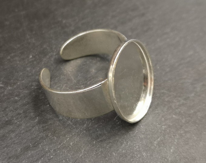 13x18x1.5mm oval ring support in brass silver finish 925 - Made in France