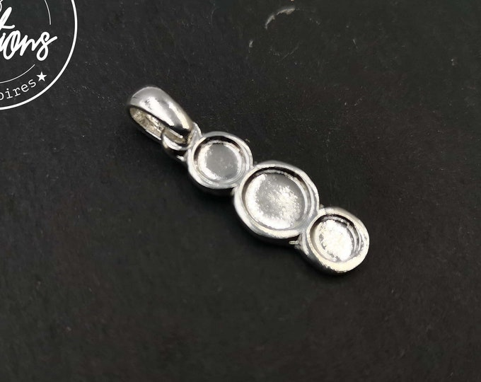 Oval 10x23mm multi-bowl pendant with 3 bowls 5/7mm silver finish 925 - Made in France