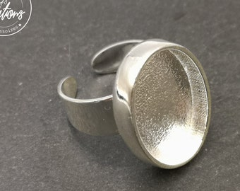 Oval ring holder 16X23X4mm - Laiton/white finish silver 925 - Made in france