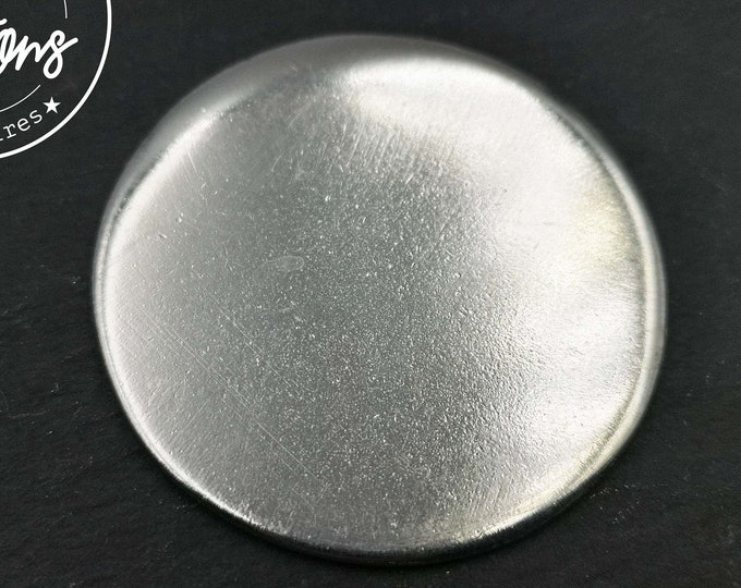 Raw tin medal to be engraved or struck with punch - to embellish your creations - Round without, 1 or 2 holes - 50x2mm