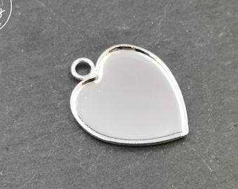 """Heart"" 21x23x1mm - 925 Silver finish brass pendant"