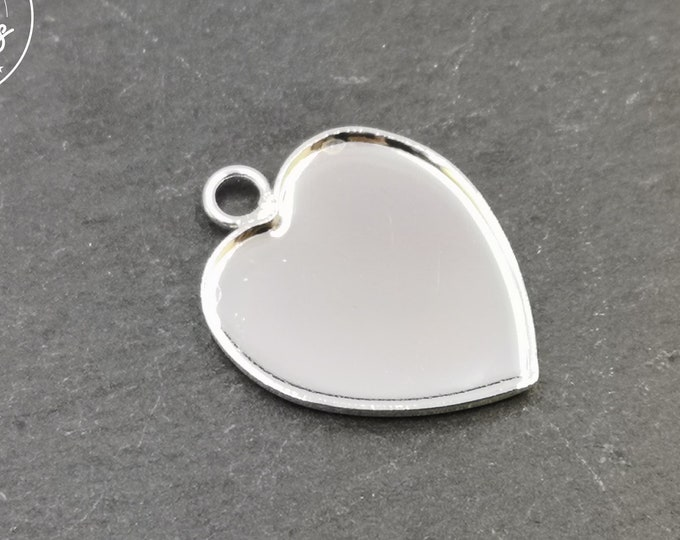 """Heart"" 21x23x1mm - 925 Silver finish brass pendant"
