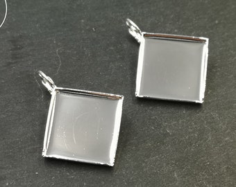 Earrings with lever 15x15x2mm - 925 Silver finish brass