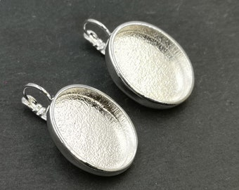 Made in France - 17x23x4mm oval earrings with sleepers - tin/brass silver finish 925