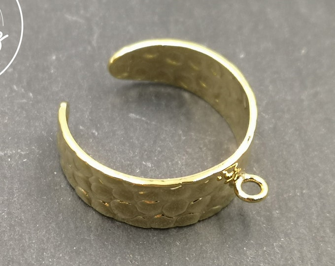 8mm hammered ring support with gold finish brass ring