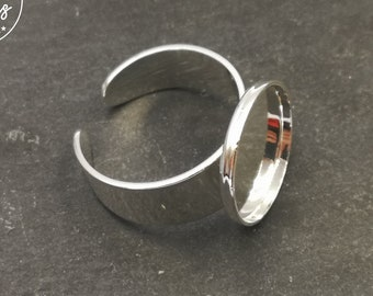 Round ring support - 15x1.5mm brass silver finish 925 - Made in France