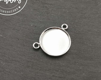 New - Pendant - 15x1.50mm - 2 rings - brass finish silver 925
