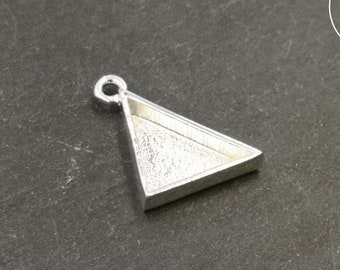 16x16x19mm triangle pendant holder - Silver finish brass/white iron 925 (left side) - Made in France