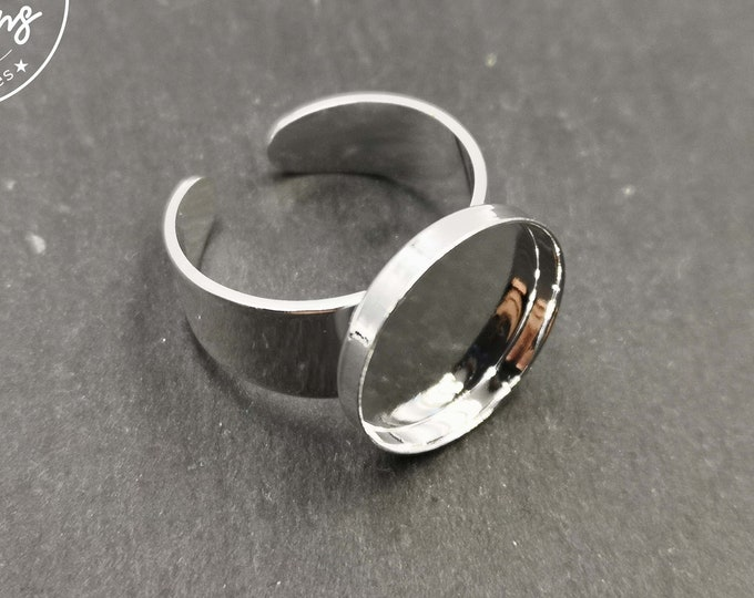 Round ring support - 15x2mm brass silver finish 925 - made in France