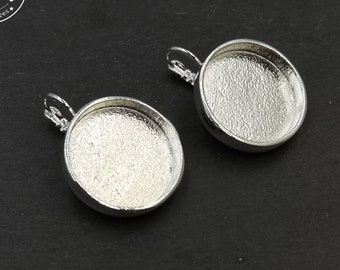 Made in France - Round earrings - '24mm' with '22x4mm' bowl with sleepers - tin/brass silver finish 925
