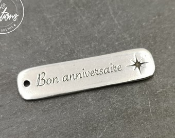 """Silver tin medal finish 925 - 10x40mm """"Happy Birthday"""" made in France"""