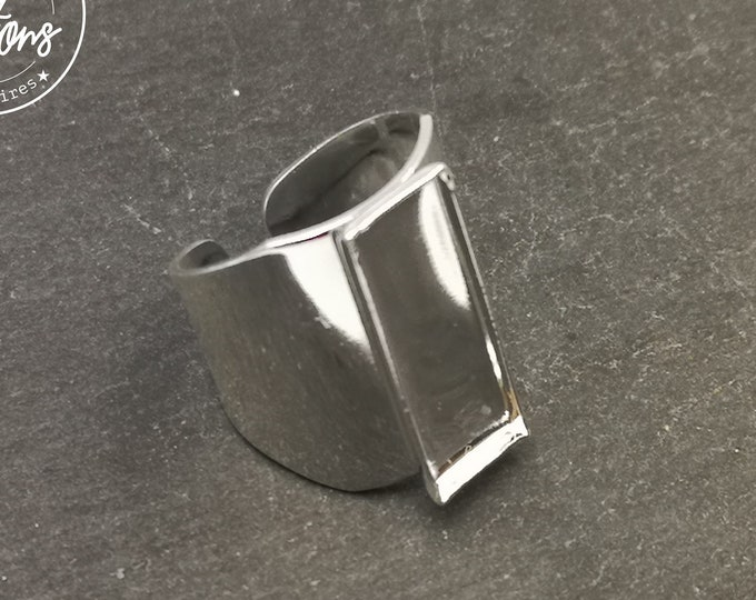 Horse ring with rectangle bowl 7.50x21,50x1.50mm in brass finish silver 925