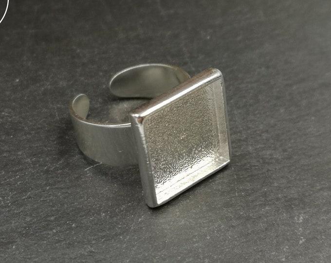 15x15x2mm square ring - silver finish tin 925