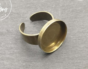 Round ring support - L-size (Size 60) - brass brass brass finish - Made in France
