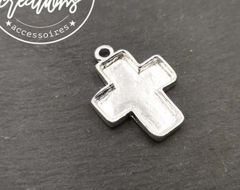 Cross pendant holder 24x27x3mm - Brass/white iron silver finish 925
