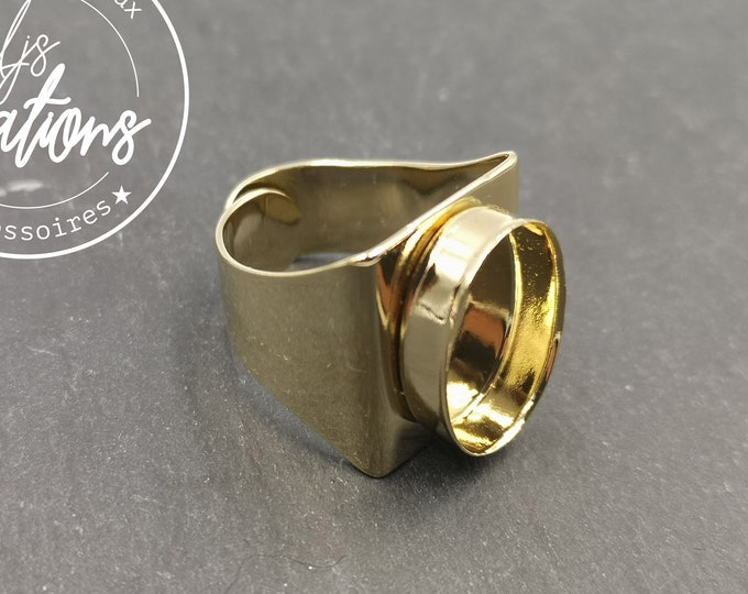 Made in France - Square knight ring with 13x18x4.5mm oval bowl in gold finish brass
