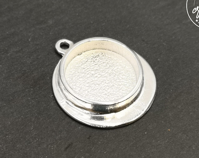 Single pendant holder - 26mm with bowl of '18x4mm ' - 925 silver finish tin - made in France