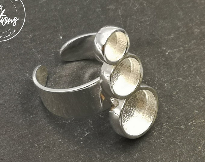 Multi bowl ring 27mm long with 3 bowls of 5/7/9x2mm - Laiton/iron silver finish 925 - Made in France