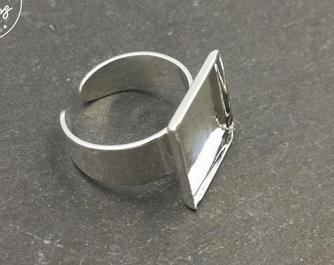 Square ring 15x15x1, 5mm brass finish Silver 925-made in France