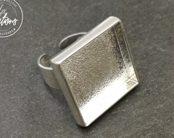 Made in France - 24x24mm square ring and 22x22x4mm bowl - Laiton/iron silver finish 925