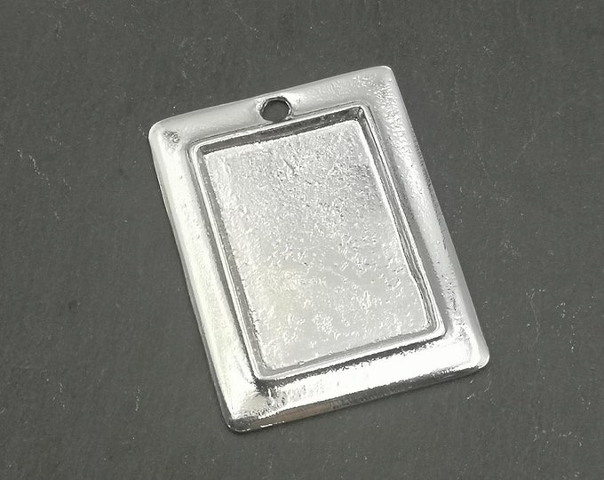 Pendant rectangle 38x49mm 26x36X2mm Bowl - Tin finish 925 sterling silver