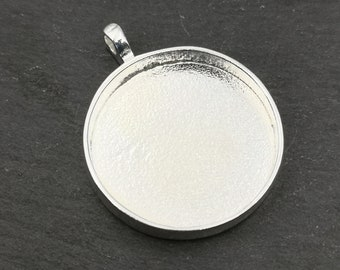 Made in France - Round pendant support - 30x4mm - silver finish tin 925