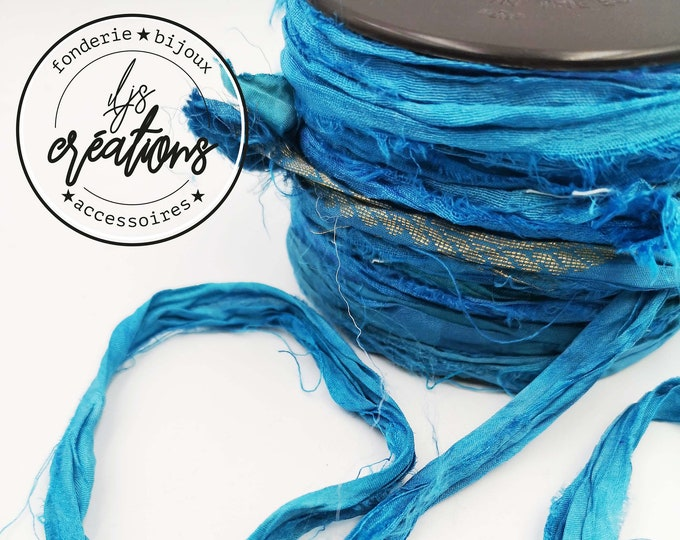 1m recycled silk from Sari - Blue