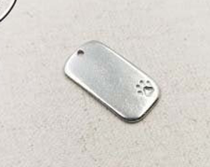 Tin rectangle medal for Chat - 15x27mm - made in France