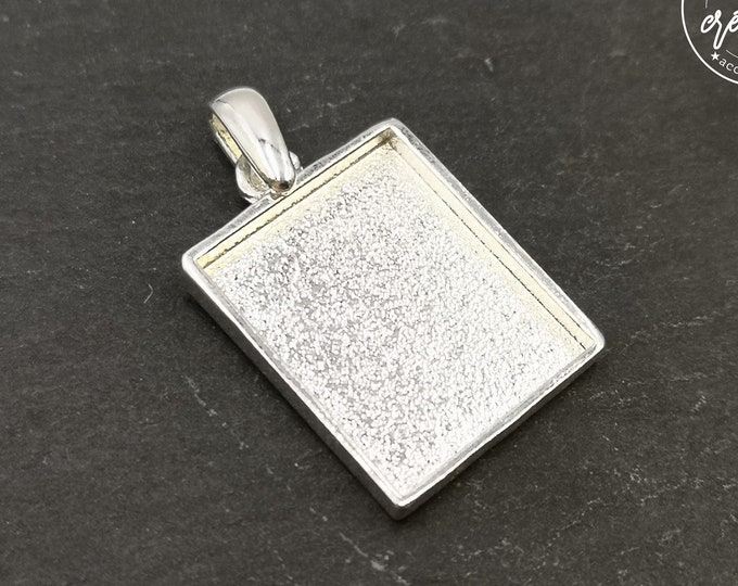 Rectangle pendant with 17x21X2mm bead - 925 silver finish tin - made in France