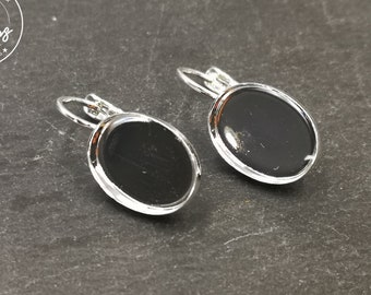 Earrings with 10x14x2mm sleepers - 925 silver finish brass - Made in France