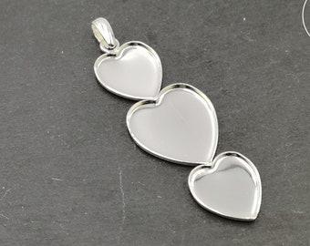 "Pendant ""Multi hearts"" 2 hearts 16 x 18 and 1 21x23mm + bail - 925 Silver finish brass"