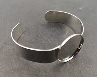 Made in France - 13mm ribbon bracelet and bowl of 20x2mm - Brass/white tin silver finish 925