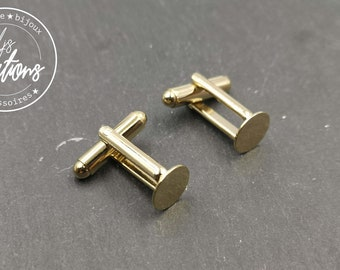 Cufflinks with round tray - Laiton finish Gold