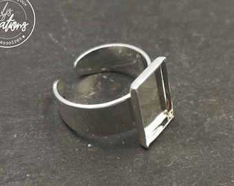 Holder rectangle ring 8x14x1mm-brass finish Silver 925