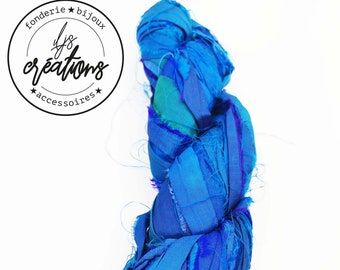 1m recycled silk from Sari - Blue / Green