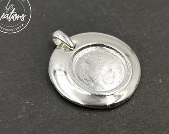 Round pendant - 32mm (bulging edges) with 19.5mm silver tin bowl 925 - made in France