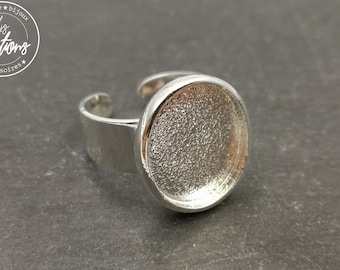 With default - Oval ring holder 15X18X2mm - Laiton/iron silver finish 925 - Made in France