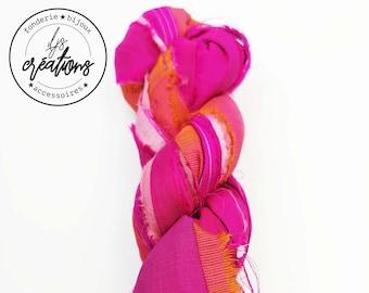 1m recycled Sari silk - pink/orange