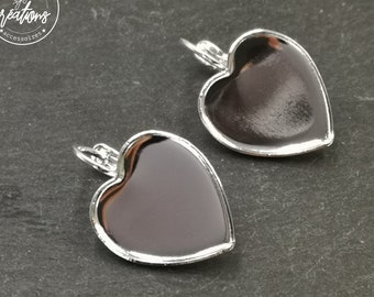 """""""Heart"""" earrings with 16x18x1mm sleepers - brass silver finish 925"""