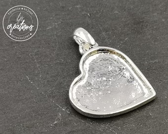 Heart pendant with Bangle 25x28x2mm-iron white finish Silver 925-made in France