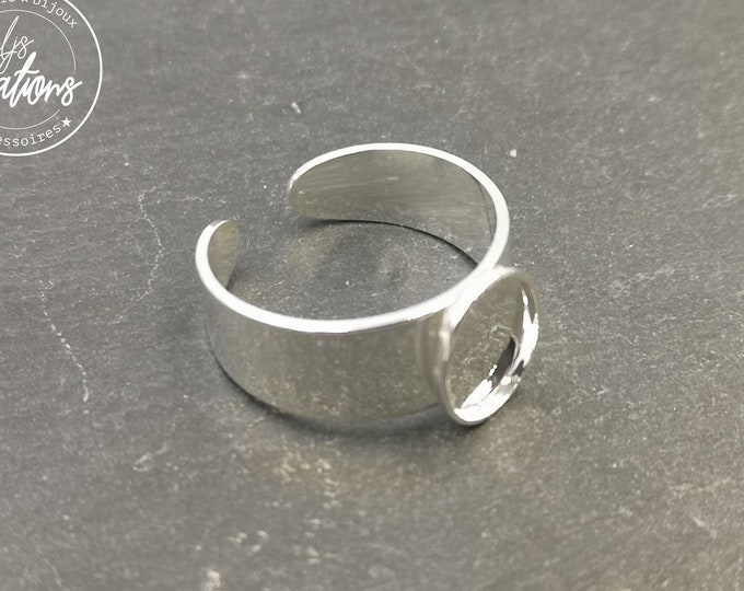 8x10x1.5mm oval ring support in brass finish silver 925 - Made in France